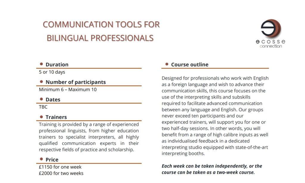 Communication tools for bilingual pro