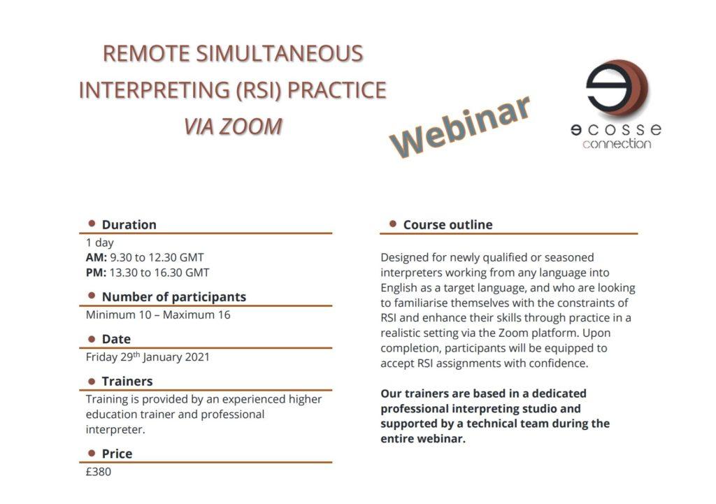 remote simultaneous interpreting practice via Zoom