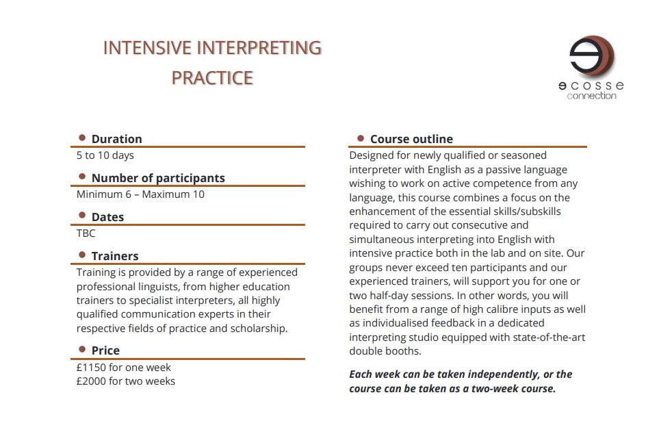 intensive interpreting practice course descriptor